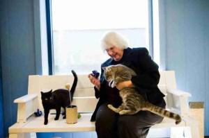 Mary Pat Boatfield with her cats.  (Central Missouri Humane Society photo)