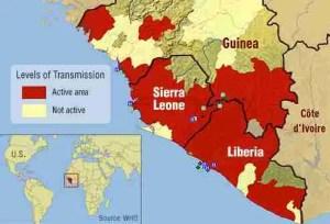 2014-2015 Ebola virus pandemic. (World Health Organization map)