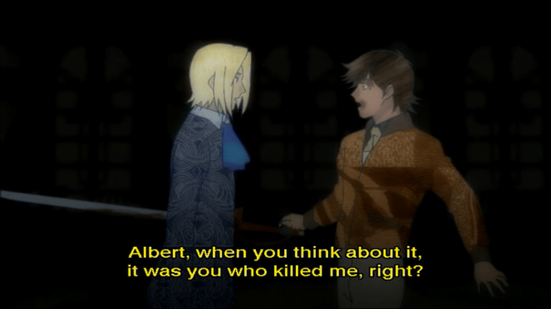 Albert hallucinating an impaled 弗朗兹. subtitle: Albert, when you think about it, it was you who killed me, right?