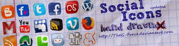 social icon hand drawned icons