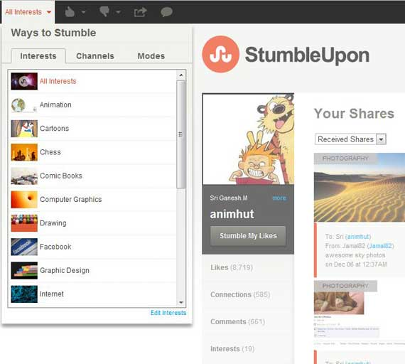 New StumbleUpon Profile page