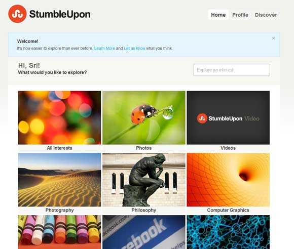 New StumbleUpon Home page