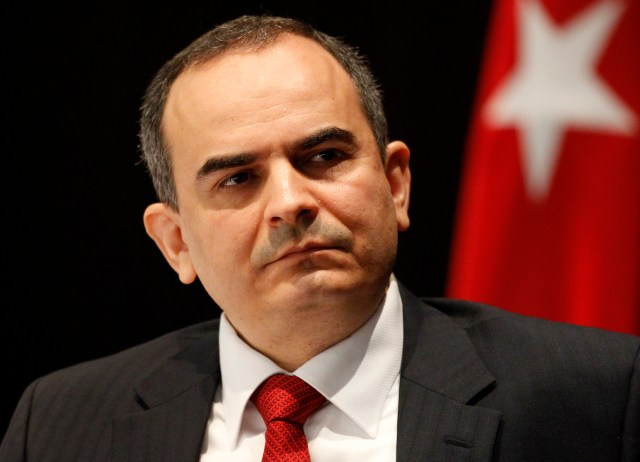 Turkey's newly named Central Bank Governor Erdem Basci attends an handover ceremony in Ankara