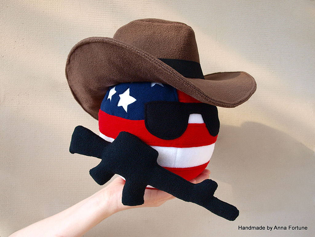 Usaball In Cowboy Hat And With M16 Handmade By Anna Fortune