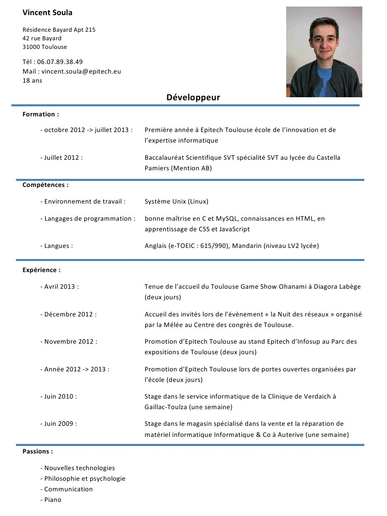 exemple interets cv psychologue