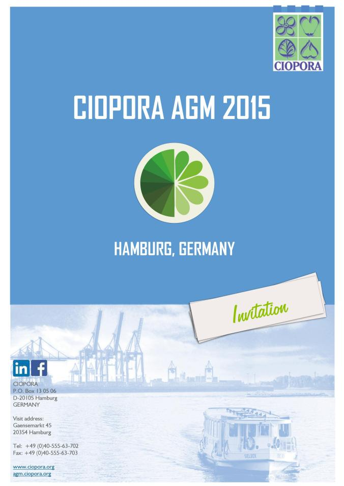 Invitation to the Annual General Meeting of CIOPORA in Hamburg 2015