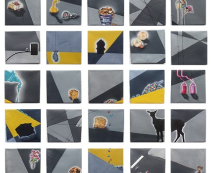 """""""Fragmente"""", 2010/2011Acryl und Öl auf Leinwand, je 22x22 cm"""