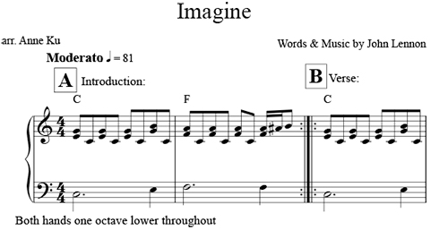 Piano tabs imagine john lennon