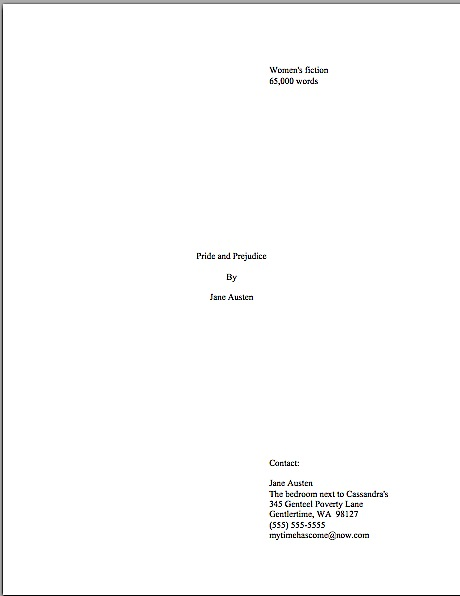 How to format a title page \u2013 Author! Author! Anne Mini\u0027s Blog