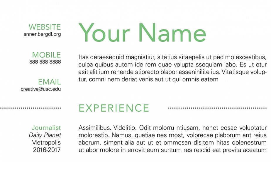 How to Create a Simple Resume Using InDesign \u2013 Annenberg Digital Lounge - how to make a good resume with little experience