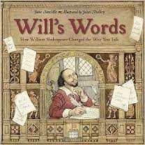 Cover of book showing William Shakespeare writing with a quill pen.