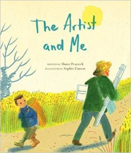Cover of book shows Vincent Van Gogh striding past a child