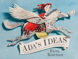 Cover of Ada's Ideas shows girl on a mechanical horse, flying through the air