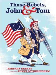 Cartoon style drawings of John Adams and Thomas Jefferson carrying an American flag and a large quill pen