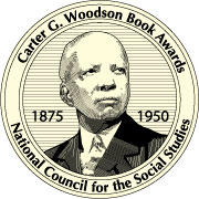Carter G. Woodson Award seal features a picture of Carter G. Woodson and the dates of his life 1875-1950.