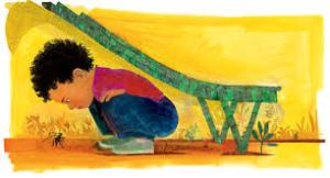 Collage art from Daniel Finds a Poem shows a boy crouched under a slide looking at an ant.