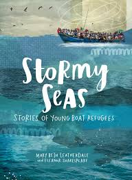 Cover of book shows refugees on a small boat on the ocean