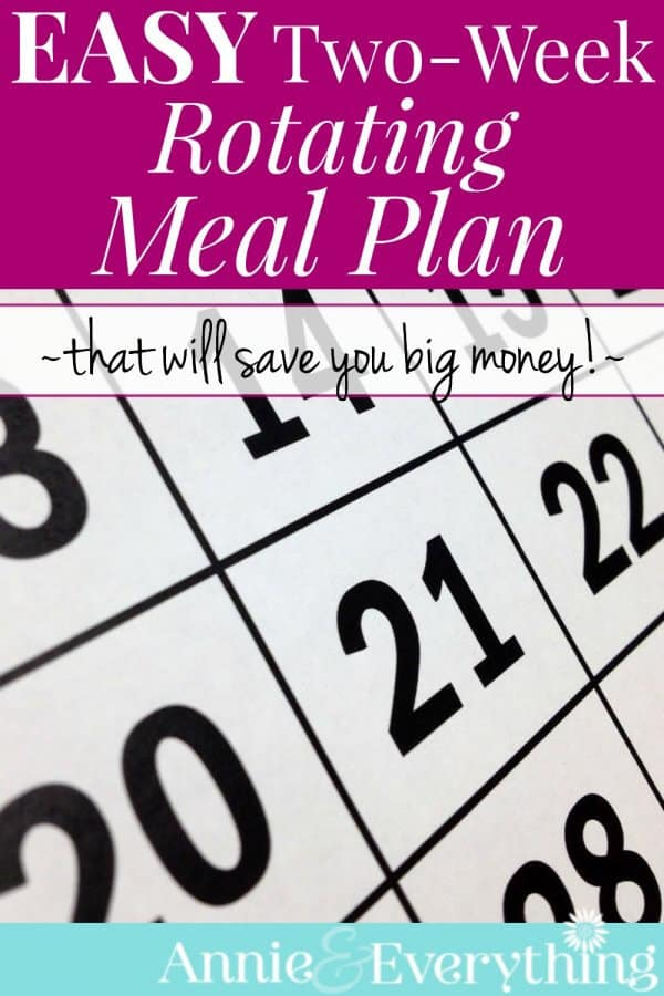 Easy Two-Week Rotating Meal Plan Annie  Everything - how to plan weekly meals for two