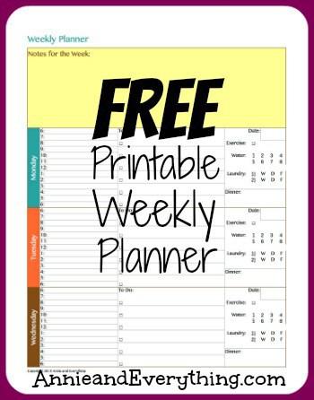 Free Printable Weekly Calendar Planner Annie  Everything - weekly printable calendars
