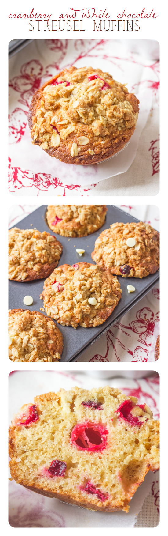 Cranberry and White Chocolate Streusel Muffins - These Cranberry and White Chocolate Streusel Muffins are soft, tender and packed with oozing white chocolate and tart fresh cranberries. Finished off with a crunchy oat streusel, these are just perfect for an afternoon snack.