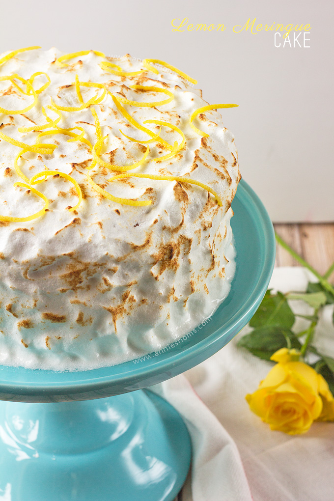 My Lemon Meringue cake is light, tender and lemon packed. Filled with lemon curd and covered in the most pillowy soft meringue, it's easy to make and makes the perfect afternoon treat!