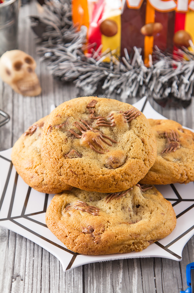 Thick, chewy cookies filled with all the flavours of Revels and stuffed with a big chunk of Mars Bar. These are every chocolate lover's dream come true in cookie form!