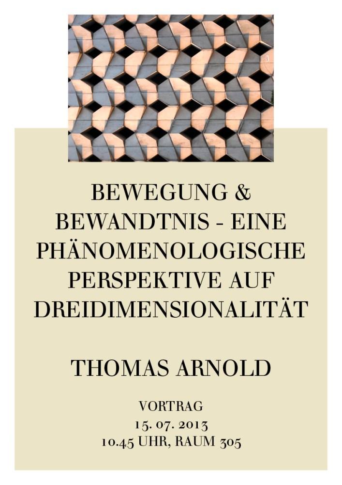 Wie erscheinen uns die Dimensionen des Raumes? Mit Husserl und Heidegger lässt sich zeigen, dass uns der Raum nicht primär geometrisch erscheint - wir erleben ihn als Leibraum und als Bewegungsraum. In letzter Konsequenz er erhält seine Bedeutung durch unsere Projekte. Berechenbarkeit und technische Darstellung sind damit für den Sinn realer Dreidimensionalität im künstlerischen und produktiven Umgang nicht entscheidend. Erst der reflektierte, methodische Rückgang auf Bewegung und Bewandtnis erschließen uns, was es mit dem Raum und seinen Dimensionen auf sich hat. Es geht also um eine phänomenologische Perspektive auf 3D - und zugleich um die Frage nach der Möglichkeit ihrer sinnvollen Gestaltung.