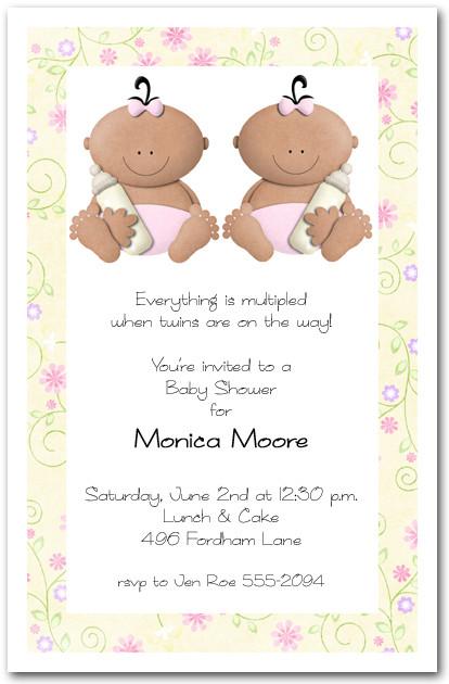 Babycakes Ethnic Twin Girls Baby Shower Invitation - baby girl invitation