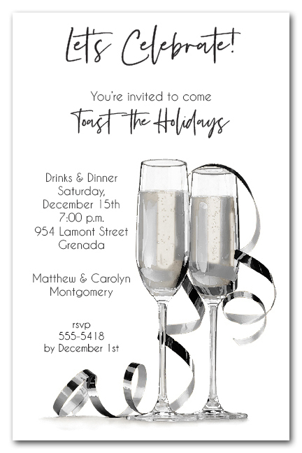 Noir Champagne  Streamers Holiday Office Cocktail Party Invitations