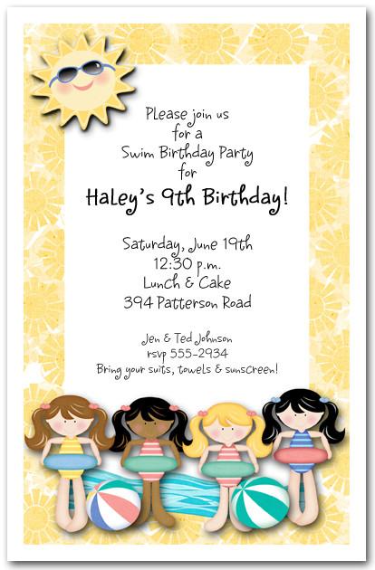 Girls Swim Time Invitations, Pool Party Invitations, Kids Birthday