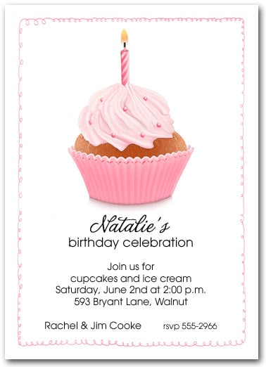Pink Birthday Cupcake Party Invitations, First Birthday Party