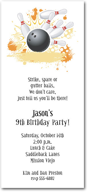 First Strike Bowling Invitation, Bowling Birthday Invites