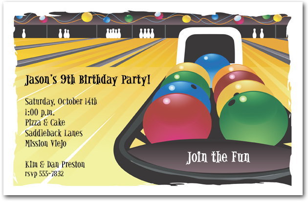 Bowling Invitation, Bowling Birthday Invitation