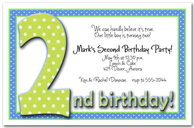Green  Blue Polka Dots Boy\u0027s 2nd Birthday Party Invitations