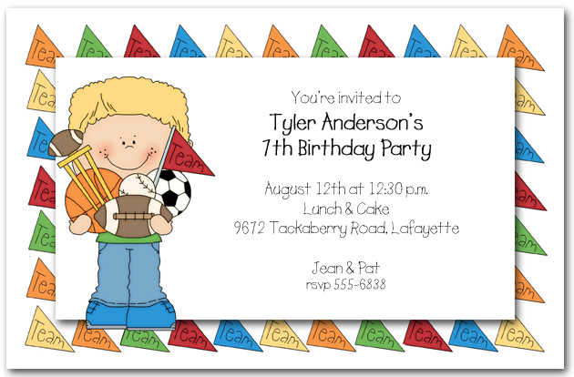 Boys Team Sports Party Invitations, Team Sports Invitations - kids birthday invites