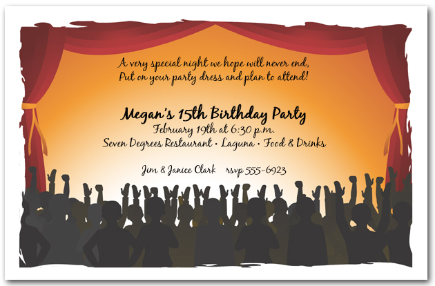 Red Stage Curtains Crowd Party Invitations