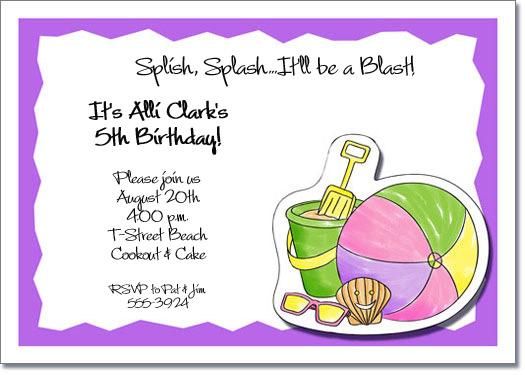 Pastel Beach Kids Party Invitations, Beach Invitations, Pool - girl birthday party invitations