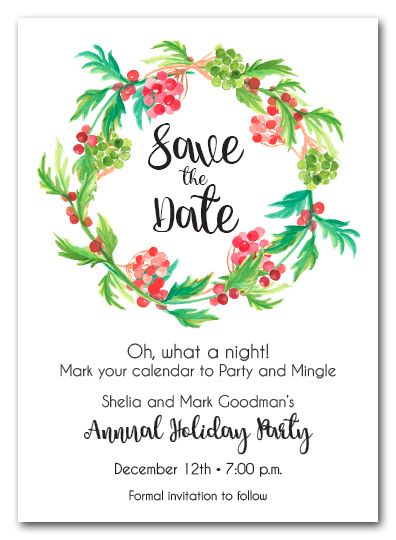 Red Berries and Greenery Wreath Holiday Save the Date Cards