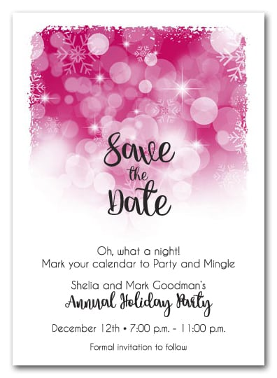 White Snowflakes on Hot Pink Holiday Christmas Party Save the Date Cards