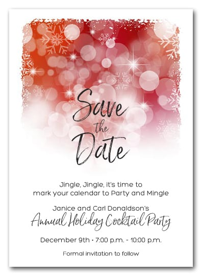 White Snowflakes on Red Holiday Christmas Party Save the Date Cards