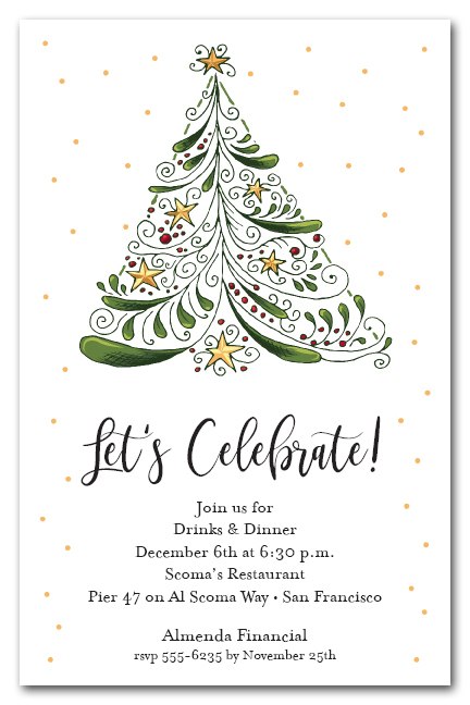 Abstract Christmas Tree Holiday Party Invitations
