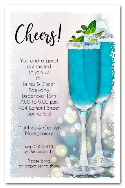 Blue Cocktails Holiday Christmas Party Invitations
