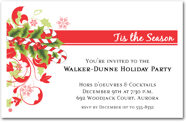 Candy Cane and Swirls Holiday Invitations, Christmas Invitations