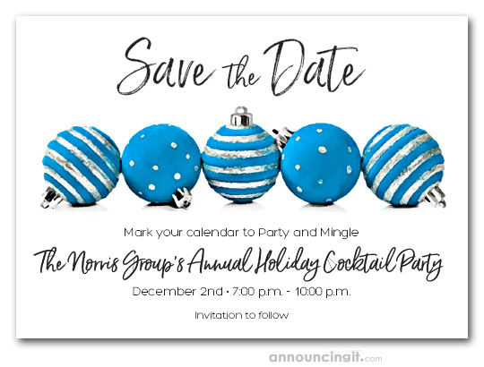 Blue Christmas Ornaments Holiday Party Save the Date Cards