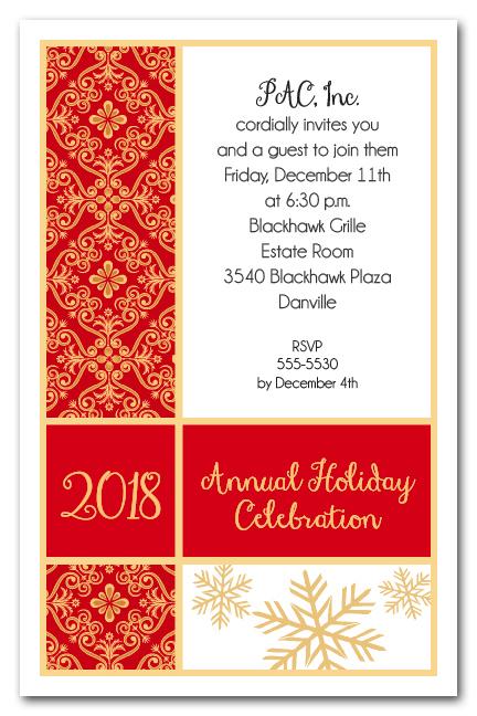 Holiday Joy Snowflakes  Tapestry Christmas Party Invitations