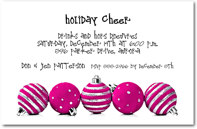 Silver  Hot Pink Christmas Ornaments Holiday Party Invitations