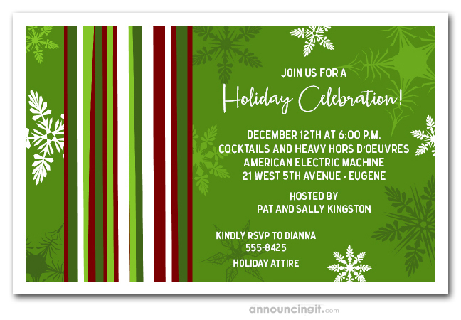 Mod Snowflakes on Green Christmas Holiday Party Invitations