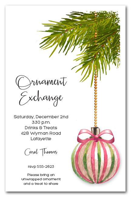 Pink  Green Christmas Ornament Holiday Party Invitations