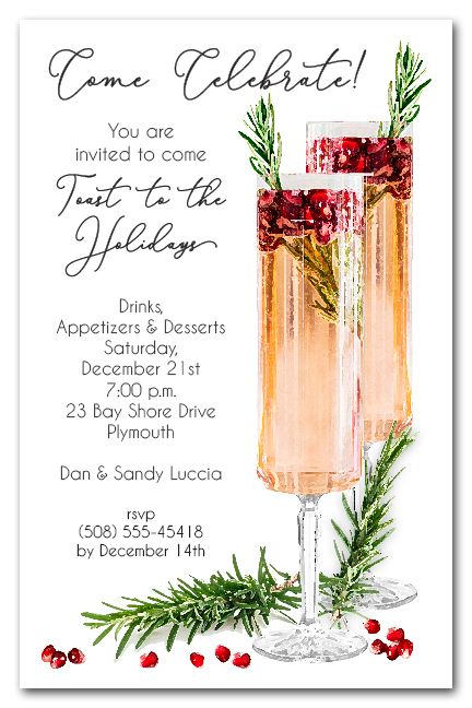 Pomegranate Rosemary Spritzer Holiday Cocktail Party Invitations