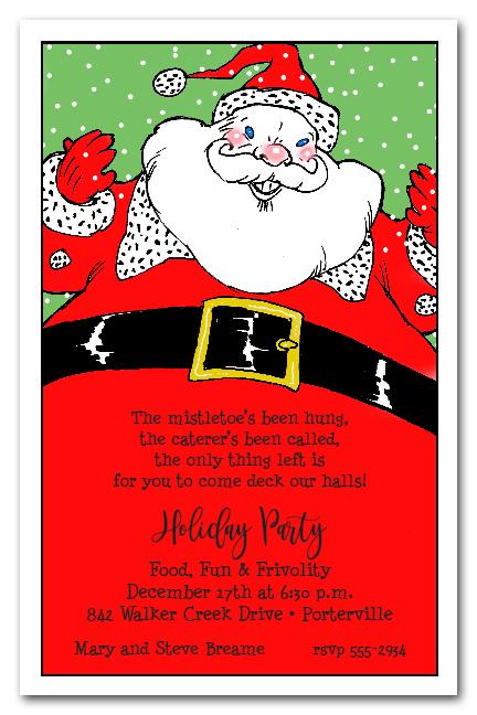 Santa Claus Holiday Christmas Party Invitations